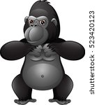 strong gorilla cartoon | Shutterstock . vector #523420123