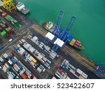 aerial view of cargo ship ... | Shutterstock . vector #523422607
