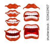 lips set of emotions. shouts... | Shutterstock . vector #523422907
