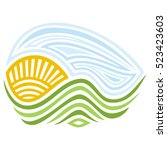 sun and mountains. vector... | Shutterstock .eps vector #523423603