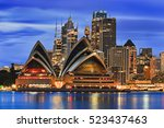 waterfront cityline of sydney... | Shutterstock . vector #523437463
