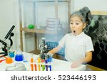 young girl making science...   Shutterstock . vector #523446193