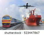 container trains commercial... | Shutterstock . vector #523447867