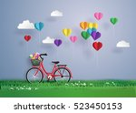 bicycle in the garden with... | Shutterstock .eps vector #523450153