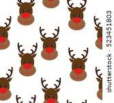 deer heads seamless pattern... | Shutterstock .eps vector #523451803