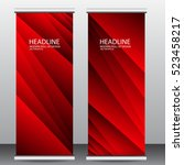 red roll up business brochure... | Shutterstock .eps vector #523458217