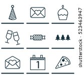 set of 9 new year icons. can be ...