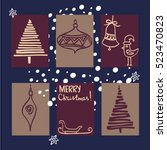 winter s holiday cards set.... | Shutterstock .eps vector #523470823