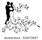 a bride and groom wedding... | Shutterstock .eps vector #523472857