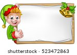 christmas elf cartoon character ... | Shutterstock .eps vector #523472863