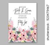 wedding invitation floral... | Shutterstock .eps vector #523475467