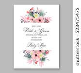 wedding invitation floral... | Shutterstock .eps vector #523475473