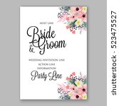 wedding invitation floral... | Shutterstock .eps vector #523475527