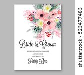 wedding invitation floral... | Shutterstock .eps vector #523477483
