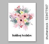 wedding invitation floral... | Shutterstock .eps vector #523477507