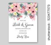 wedding invitation floral... | Shutterstock .eps vector #523477573
