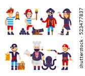 group of cartoon pirates vector ... | Shutterstock .eps vector #523477837
