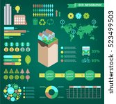 vector set of eco infographics. ... | Shutterstock .eps vector #523499503