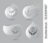 4 images  bird in hands  apple  ... | Shutterstock .eps vector #523509487