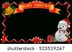 frame ribbon of smiling snowman ... | Shutterstock .eps vector #523519267
