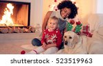 family christmas celebration... | Shutterstock . vector #523519963