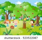 farm scene with kids picking...   Shutterstock .eps vector #523522087