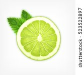 lime slice with mint | Shutterstock . vector #523522897