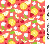 seamless pattern with fruits...   Shutterstock .eps vector #523523287