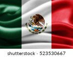 mexico flag of silk 3d... | Shutterstock . vector #523530667