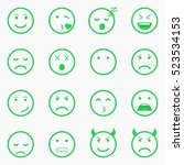 set of green emoticons  emoji... | Shutterstock .eps vector #523534153