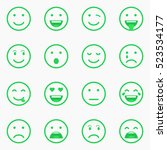 set of green emoticons  emoji... | Shutterstock .eps vector #523534177