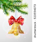 christmas tree branch with... | Shutterstock .eps vector #523554073