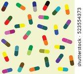 pills collection. medical pills ... | Shutterstock .eps vector #523554373