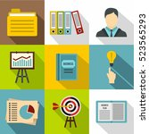 earnings icons set. flat... | Shutterstock . vector #523565293