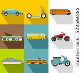 transport for movement icons... | Shutterstock . vector #523566283