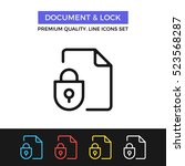 vector document and lock icon.... | Shutterstock .eps vector #523568287