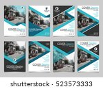 blue collection set cover... | Shutterstock .eps vector #523573333