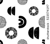 monochrome minimalistic tribal... | Shutterstock .eps vector #523574197