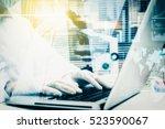 double exposure of female... | Shutterstock . vector #523590067