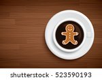 coffee mug with gingerbread man ... | Shutterstock .eps vector #523590193
