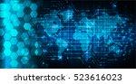 future technology  blue cyber... | Shutterstock .eps vector #523616023