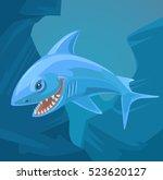 shark character with sharp...