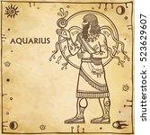 zodiac sign aquarius. drawing... | Shutterstock .eps vector #523629607