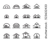 hangar and barn line icon | Shutterstock .eps vector #523632433