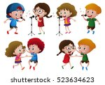 kids dancing in group | Shutterstock .eps vector #523634623