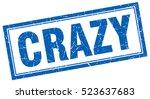 crazy. stamp. square grunge... | Shutterstock .eps vector #523637683