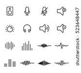 Thin Line Audio Icons On White...