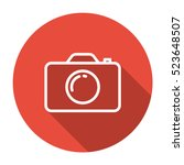 thin line  flat camera icon on... | Shutterstock .eps vector #523648507