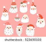 cute  hipster and funny santa... | Shutterstock .eps vector #523650103
