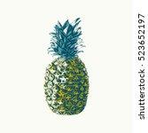 hand drawn vector pineapple... | Shutterstock .eps vector #523652197